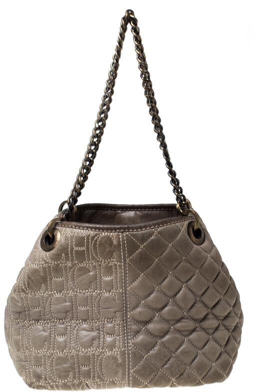 Carolina Herrera Olive Green Monogram Leather Chain Tote Shopstyle