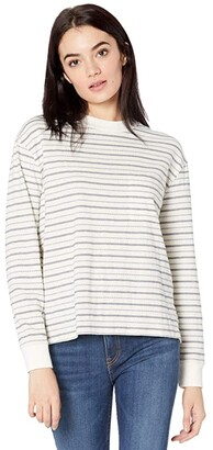 Madewell Mockneck Pocket Tee in Jacquard Stripe (Dark Mediterranean) Women's Clothing