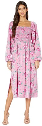 WAYF Ever After Smpocked Bodice Long Sleeve Midi Dress (Pink Floral Dot Jacquard) Women's Clothing