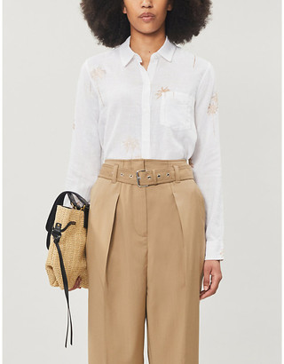 Rails Charli palm-embroidered linen-blend shirt