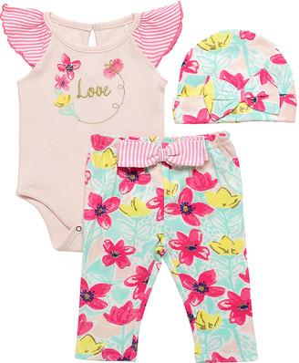 Baby Starters Girls' Infant Bodysuits Pink - Pink & Teal Floral Bodysuit Set - Newborn & Infant