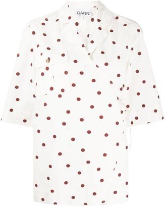 Ganni Polka-Dot Wrap-Front Shirt