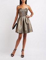 Charlotte Russe Metallic Strapless Skater Dress