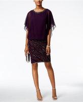 J Kara Chiffon Beaded Blouson Dress