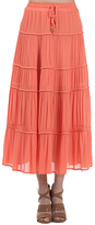Coral Tiered Pleated Maxi Skirt
