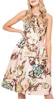 Miss Selfridge Jacquard Bow Back Dress, Gold/Multi