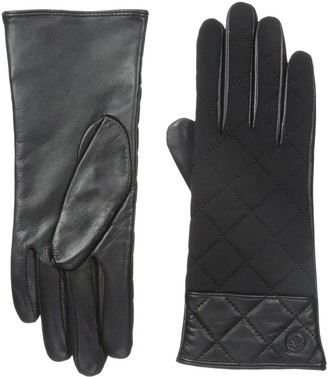 Adrienne Vittadini Women's Quilted Leather Cashmere Lined Gloves