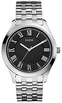 GUESS Men's Classic Stainless Steel Roman Numeral Black Dial Analog Bracelet Watch