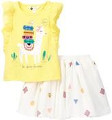 Petit Lem Top & Sequined Skirt Set (Toddler & Little Girls)