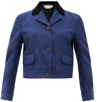 Marni Velvet-collar Cropped Wool-blend Twill Jacket - Navy