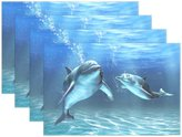 "WOZO Happily Two Dolphins Placemat Table Mat, Underwater World 12"" x 18"" Polyester Table Place Mat for Kitchen Dining Room 1 Piece"
