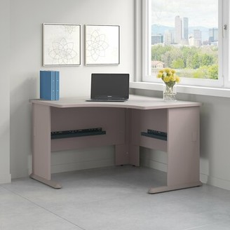 Bush Business Furniture Series A L-Shape Executive Desk with Hutch Finish: Pewter