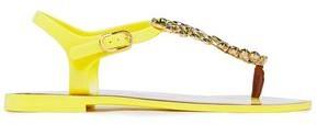 Dolce & Gabbana Leather-trimmed Crystal-embellished Rubber Sandals