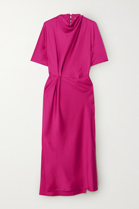 Stine Goya Rhode Gathered Satin Midi Dress