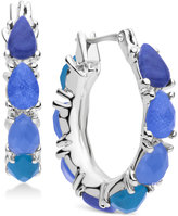 Nine West Silver-Tone Ombré Blue Stone Hoop Earrings