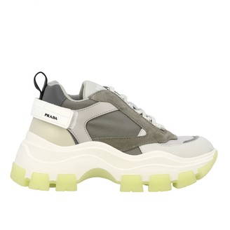 Prada New Chunky Sneakers In Suede Leather And Mesh