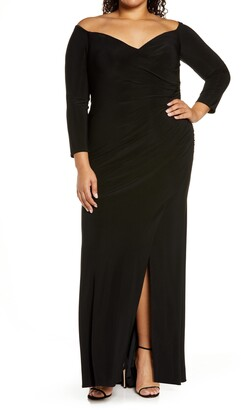 La Femme Off the Shoulder Long Sleeve Gown