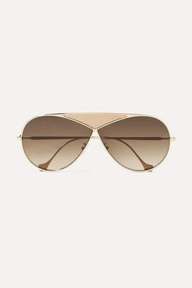 Loewe Puzzle Medium Aviator-style Gold-tone And Leather Sunglasses