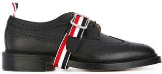 Thom Browne Classic Long Wingtip Brogues With Grosgrain Strap