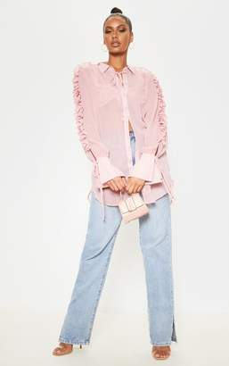 PrettyLittleThing Pink Chiffon Ruffle Sleeve Blouse