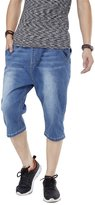 QBO Men's Hip-Hop Wash Denim Pocket Short Baggy Pants Jeans