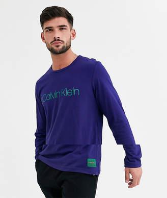 Calvin Klein logo long sleeve lounge top-Blue