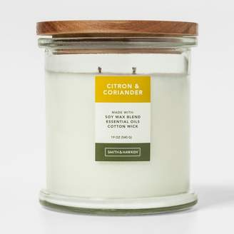 Smith & Hawken Large Lidded Glass Jar Candle Citron & Coriander
