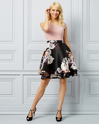 Le Château Floral Print Twill Off-The-Shoulder Dress