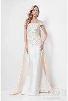 Terani Evening - Embroidered Off Shoulder with Cape Mermaid Gown 1711M3517