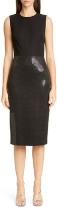 St. John Mixed Media Sheath Dress