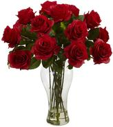 Nearly Natural Blooming Roses with Vase in Red