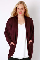 Yours Clothing Wine Jersey Cardigan With Drape Pockets