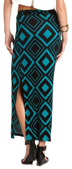 Charlotte Russe Printed Side Slit Maxi Skirt