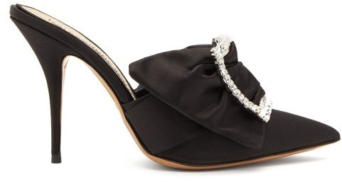 Lola Embellished Crystal Buckle Black Womens Satin Mules KTl153uFJc