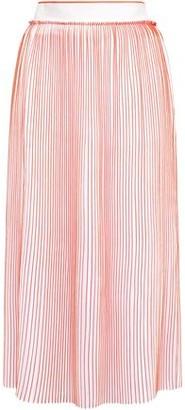 Victoria Victoria Beckham Pleated Striped Crepe De Chine Midi Skirt