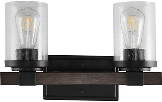 Jonathan Y Designs Bungalow 15In 2-Light Iron/Seeded Glass Rustic Farmhouse Led Vanity Light