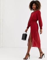 Zibi London chiffon elasticated waist long sleeve midi dress with side slit