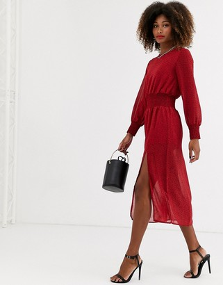Zibi London chiffon elasticated waist long sleeve midi dress with side slit-Red