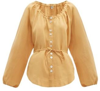 Belize - Lily Balloon-sleeve Linen Blouse - Womens - Light Brown