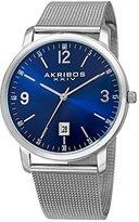 Akribos XXIV Men's AK858BU Round Blue Dial Three Hand Quartz Bracelet Watch