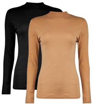 Dorothy Perkins Womens 2 Pack Black Funnel Neck Camel Cotton Top, Black