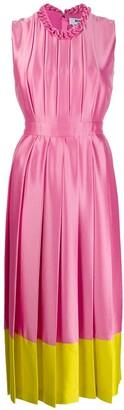 MSGM Contrast-Hem Pleated Satin Midi Dress