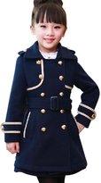 Remeehi Fashional Girls Wool Coat Korea Style Wool Coat Lovely Girls Winter Warm Wool Cotton Coat Navy M