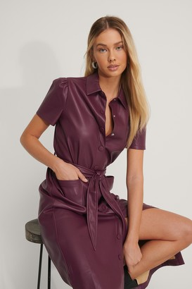 NA-KD Short Sleeve PU Shirt Dress