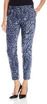 Jones New York Women's Indigo Snakeskin Print Grace Ankle Pant