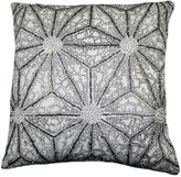 Bed Bath & Beyond Geometric Flower Beaded Square Throw Pillow in Silver