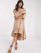 Thumbnail for your product : Lost Ink midi smock dress with ladder trim in broderie