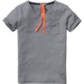 Scotch & Soda Kids - Boy's Short Sleeve Pocket Tee - White with Black Stripes