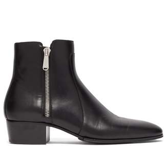 Balmain Mike Leather Ankle Boots - Mens - Black