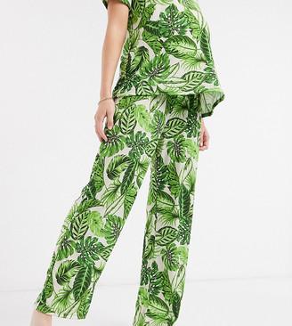 ASOS DESIGN Maternity mix & match palm print pyjama trouser in green